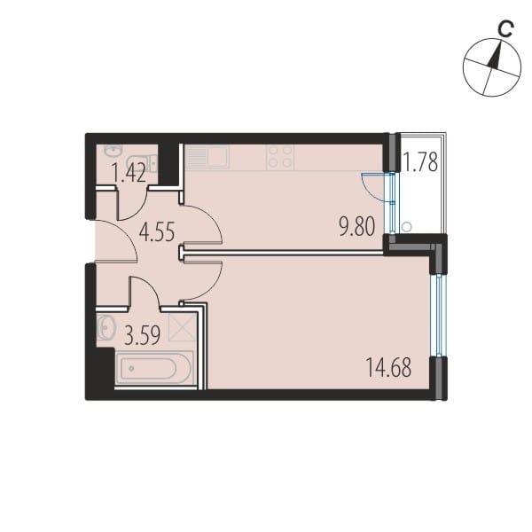 Планировка Однокомнатная квартира площадью 34.1 кв.м в ЖК «INKERI»