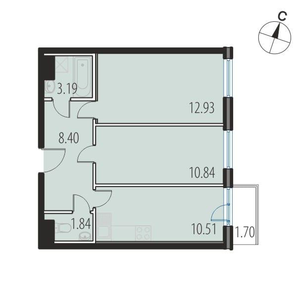Планировка Двухкомнатная квартира площадью 47.7 кв.м в ЖК «INKERI»