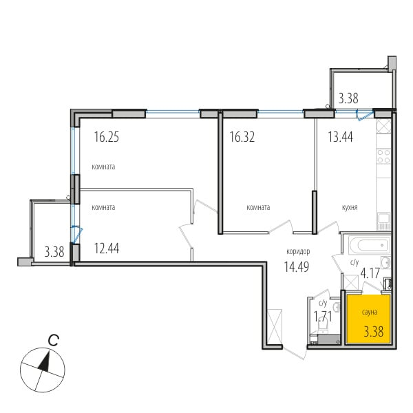 Планировка Трёхкомнатная квартира площадью 82.9 кв.м в ЖК «INKERI»
