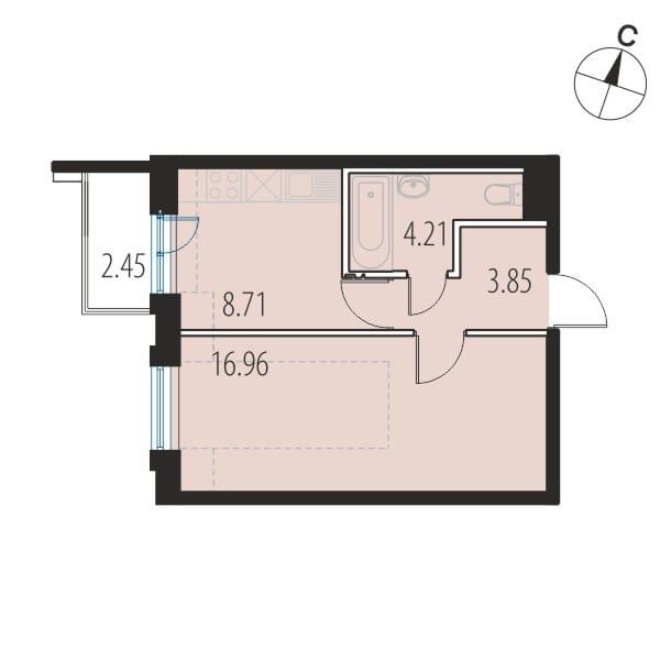 Планировка Однокомнатная квартира площадью 33.7 кв.м в ЖК «INKERI»