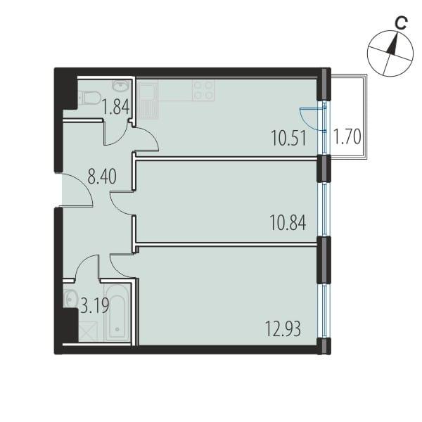 Планировка Двухкомнатная квартира площадью 47.6 кв.м в ЖК «INKERI»