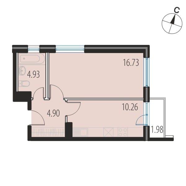 Планировка Однокомнатная квартира площадью 36.7 кв.м в ЖК «INKERI»