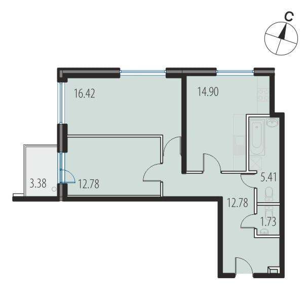 Планировка Двухкомнатная квартира площадью 63.7 кв.м в ЖК «INKERI»